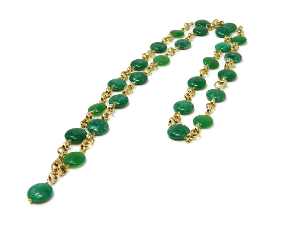 Long necklace with green emerald jade stones