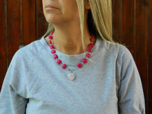 Load image into Gallery viewer, Choker with fuchsia jade and rose quartz heart