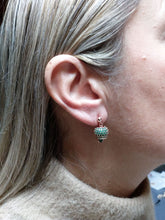 Load image into Gallery viewer, Rose silver earrings with green cubic zirconia Call Angels bells