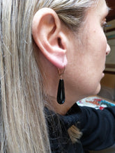 Load image into Gallery viewer, Rose silver earrings with black onyx drop