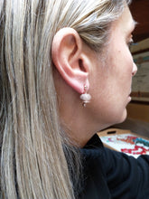 Load image into Gallery viewer, Rose silver earrings with white cubic zirconia Call Angels bells