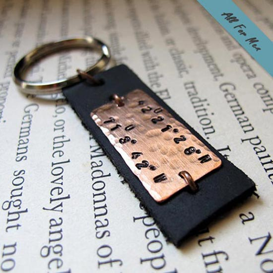 Mens Personalized Gift Keychain GPS Coordinates Longitude Latitude Personalized Key fob Gift