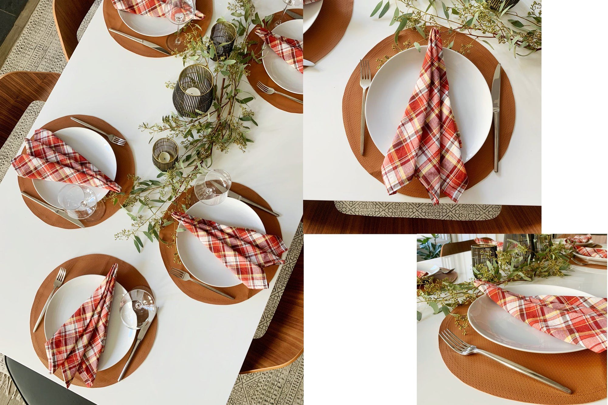 DIY Faux Leather Placemats and Plaid Napkins for Holiday Table Tutorial