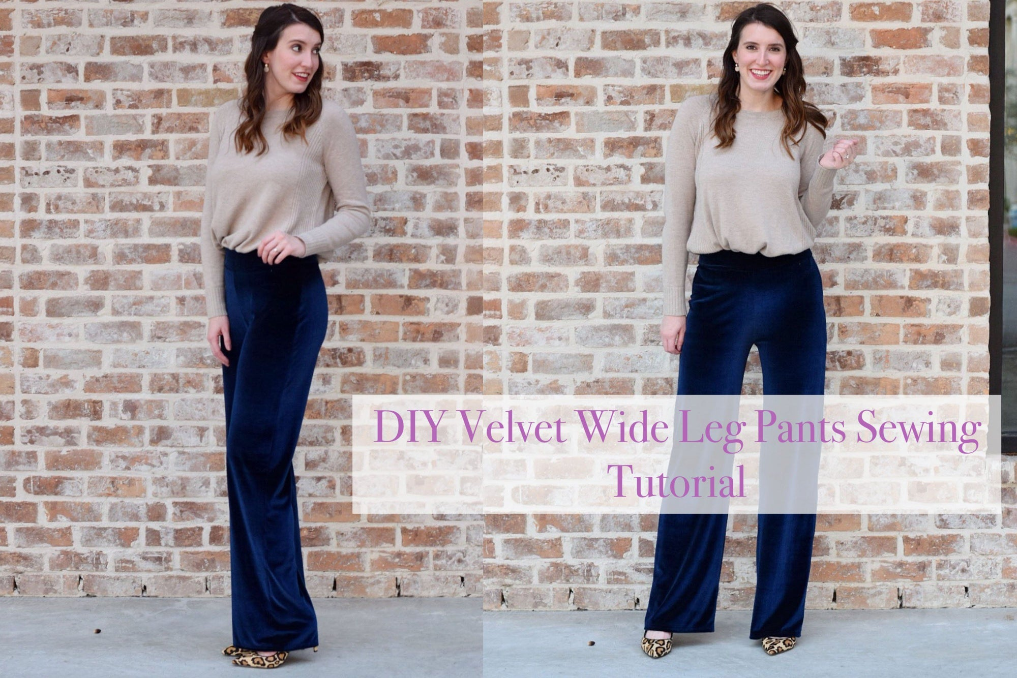DIY Velvet Wide Leg Pants Sewing Tutorial
