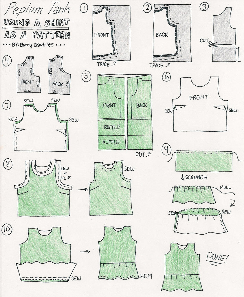 diy Peplum Tank Sewing Tutorial