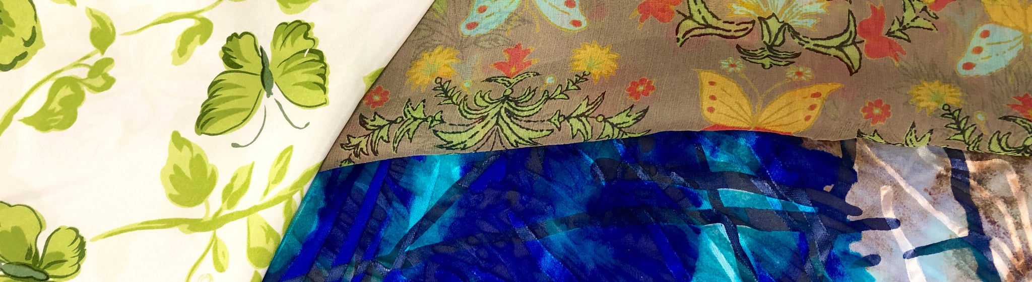 Reaped Pure silk 50x140 cm Blue White abstract print bright colorful  silk fabric  Bright  color for dress shawls blouse