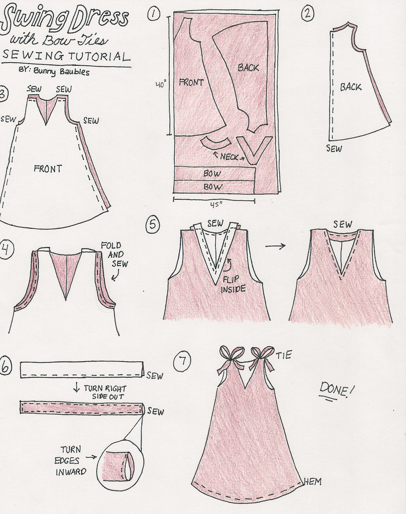 Diy Swing Dress With Bow Ties Tutorial Fabric Wholesale Direct Tie Tying Diagram Start By Folding Your In Half So It Is 1 Yard Wide Fold A Loose Fitting Tank Top And Place On The Folded Edge Of
