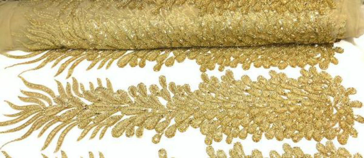 beaded bridal lace fabric