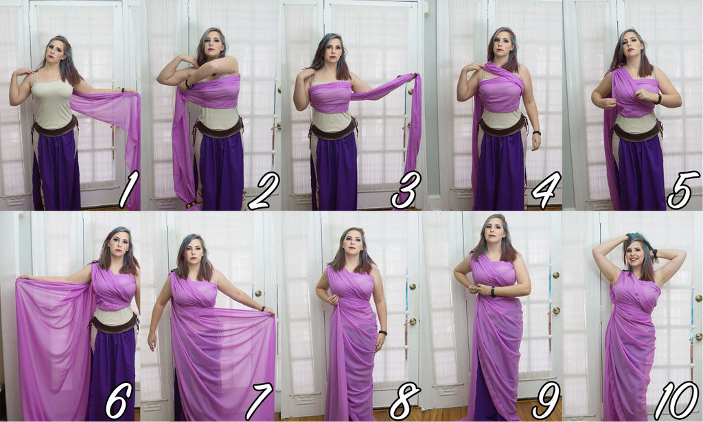Diy toga dress cape tutorial fabric wholesale direct do this by test wrapping your fabric knot one end of the fabric this will be your starting point place it on your shoulder then follow the diagram solutioingenieria Gallery