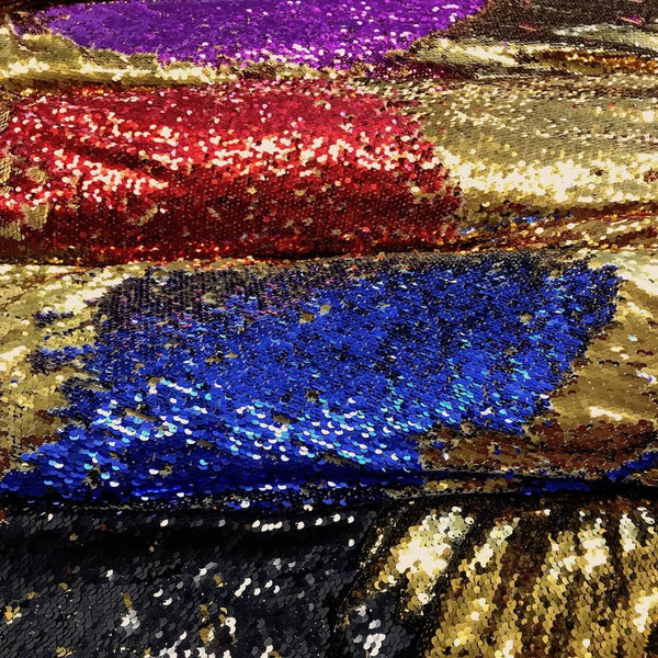 Reversible sequins fabric 54 wide     Beautiful black silver color    Fabric sold by the yard