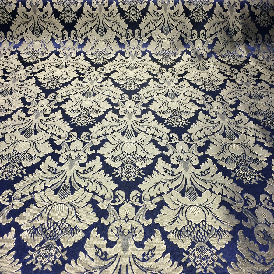 Navy Blue & Gold Jacquard Fabric