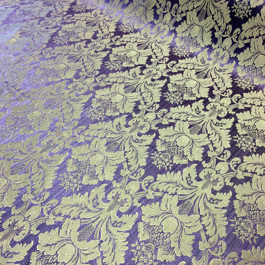 Lilac & Gold Jacquard Fabric