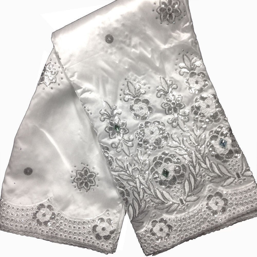 Noble African George Taffeta Studded - Silver Fabric