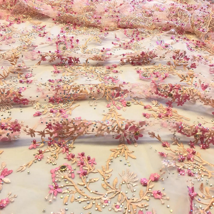 Peach Ariya Beaded Embroidery Sequins on Mesh Lace