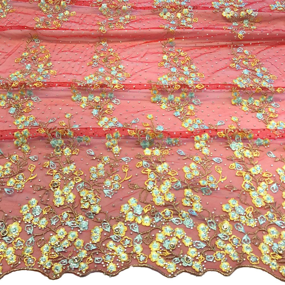 Red Farina Beaded Embroidery Sequins On Mesh Lace Fabric 1999yard