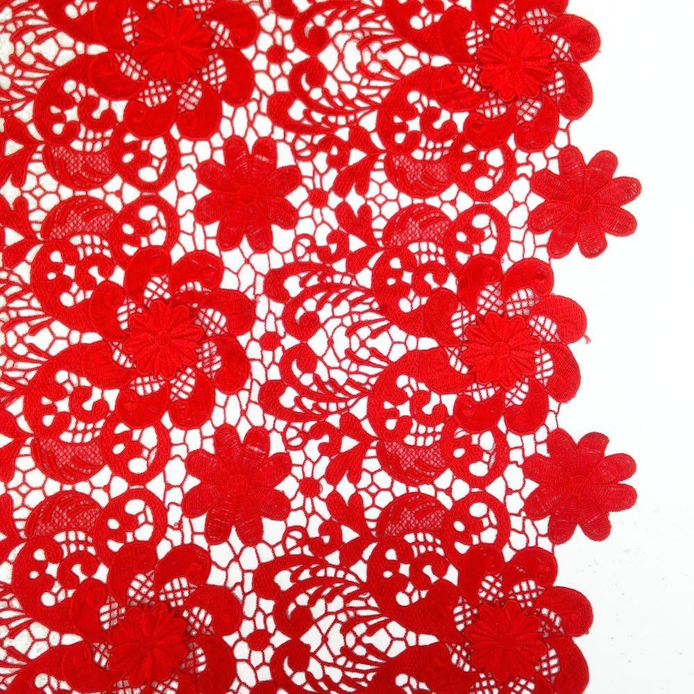 Red lily flower guipure fabric french venice lace fabric wholesale red lily flower guipure french venice lace izmirmasajfo