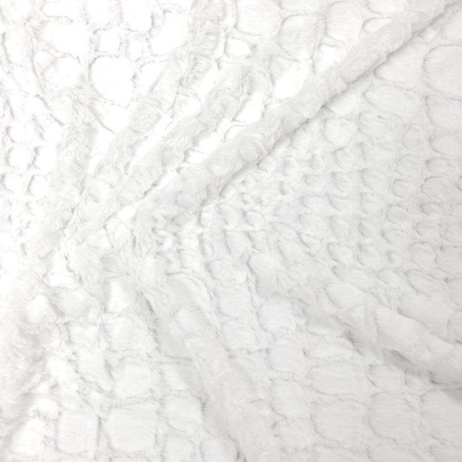 Reptile Optic White Faux Fur Fabric