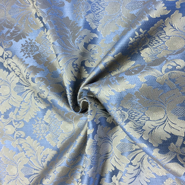 Jacquard Damask Print Fabric Baby Blue For Curtains And