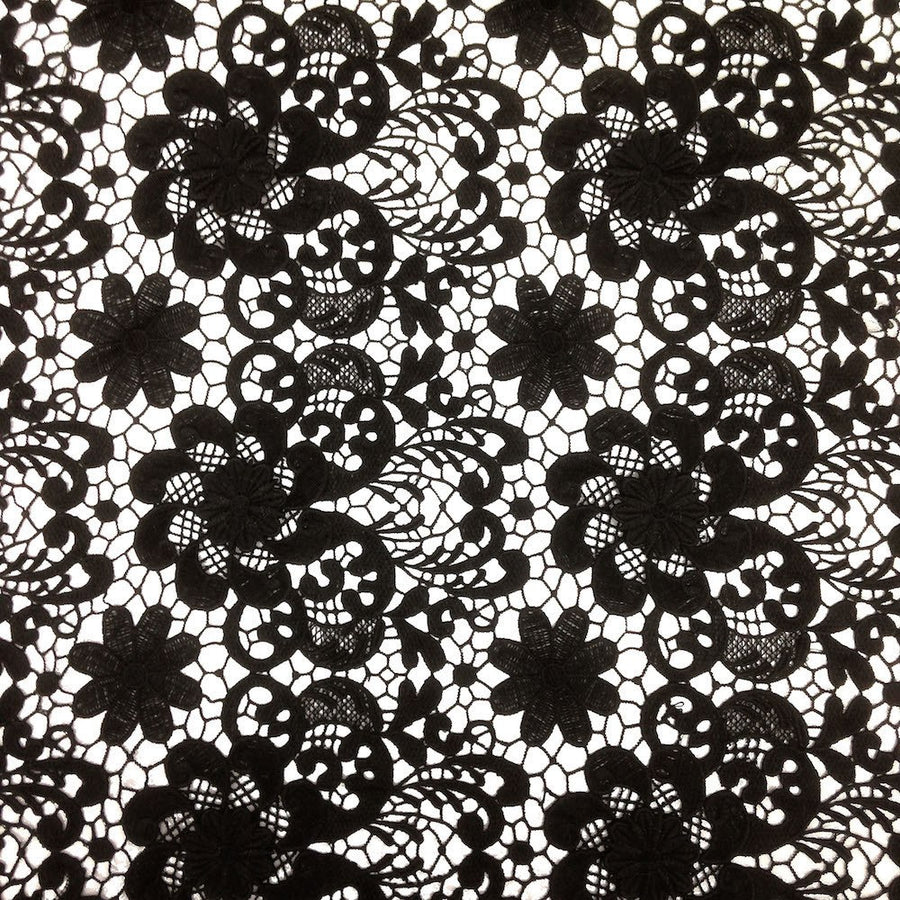 Black Lily Flower Guipure French Venice Lace Fabric