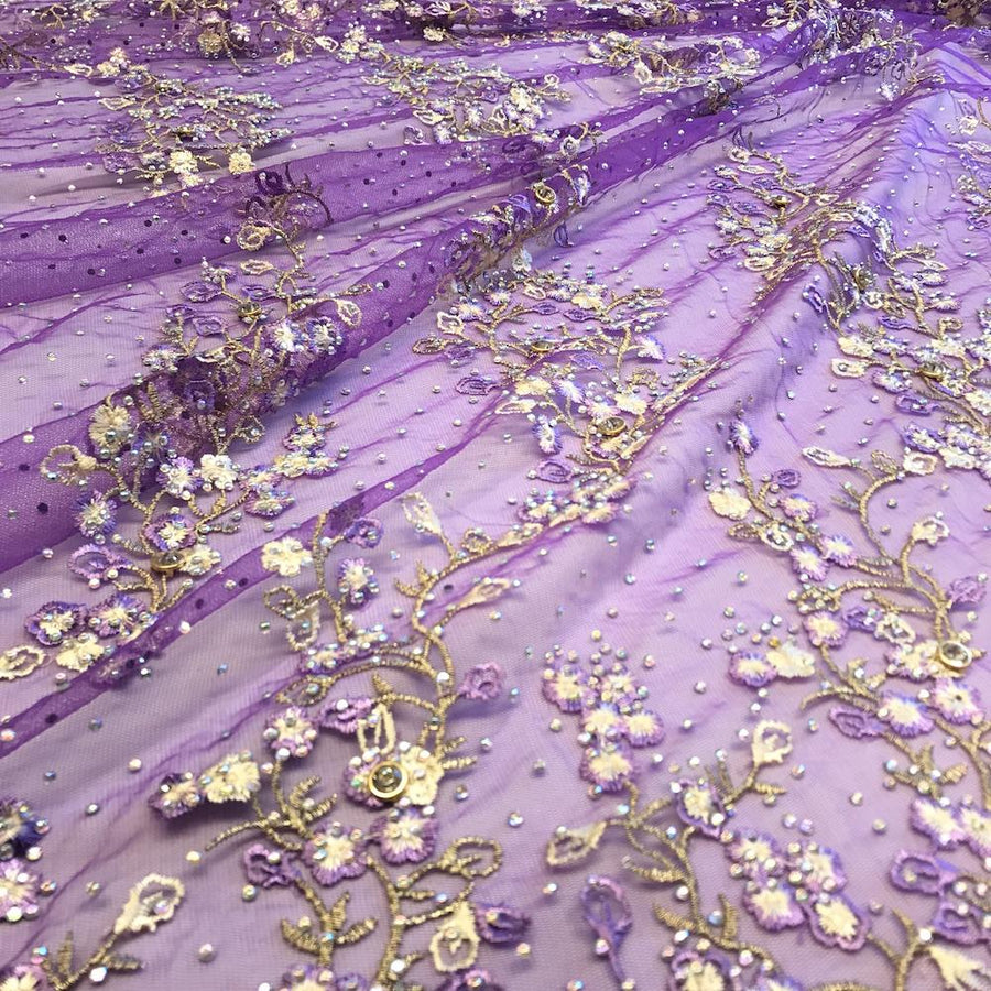 Purple Farina Beaded Embroidery Sequins on Mesh Lace