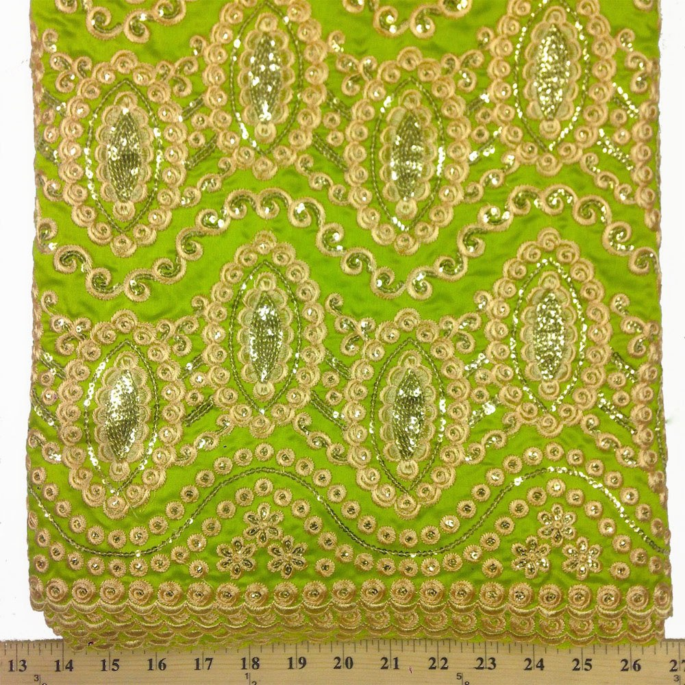 Imperial African George Taffeta - Lime Green Fabric