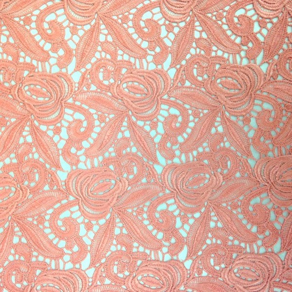 Coral Peach Rose Guipure French Venice Lace Fabric