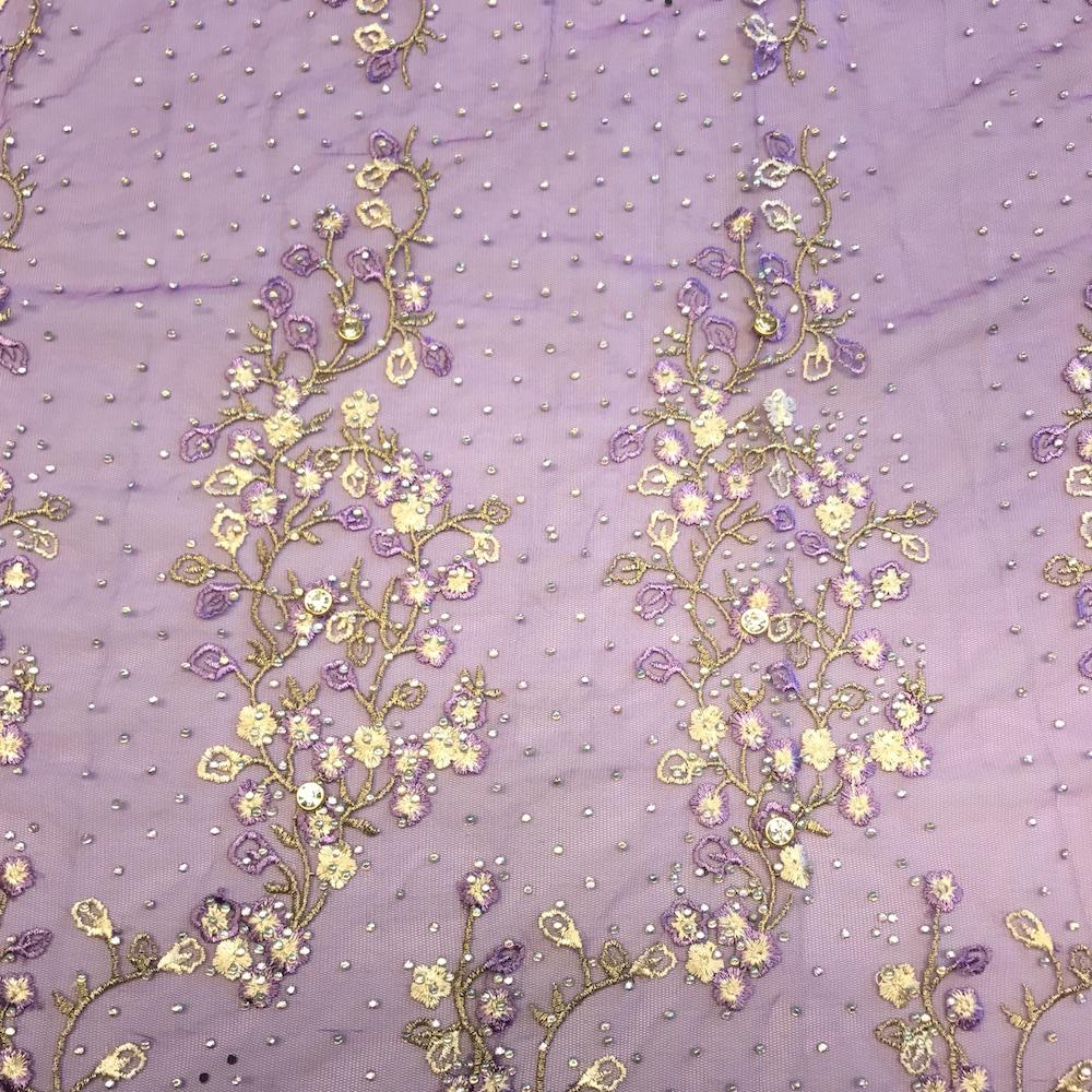 Purple Farina Beaded Embroidery Sequins On Mesh Lace Fabric Fabric