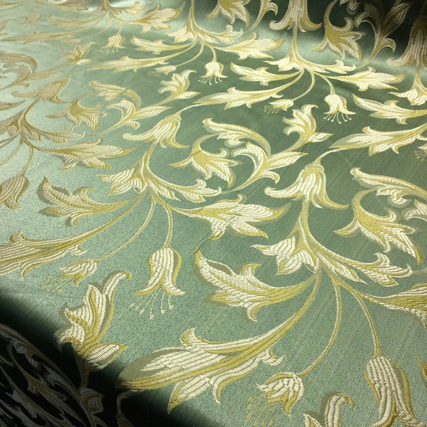 Sage Green & Gold Jacquard Fabric