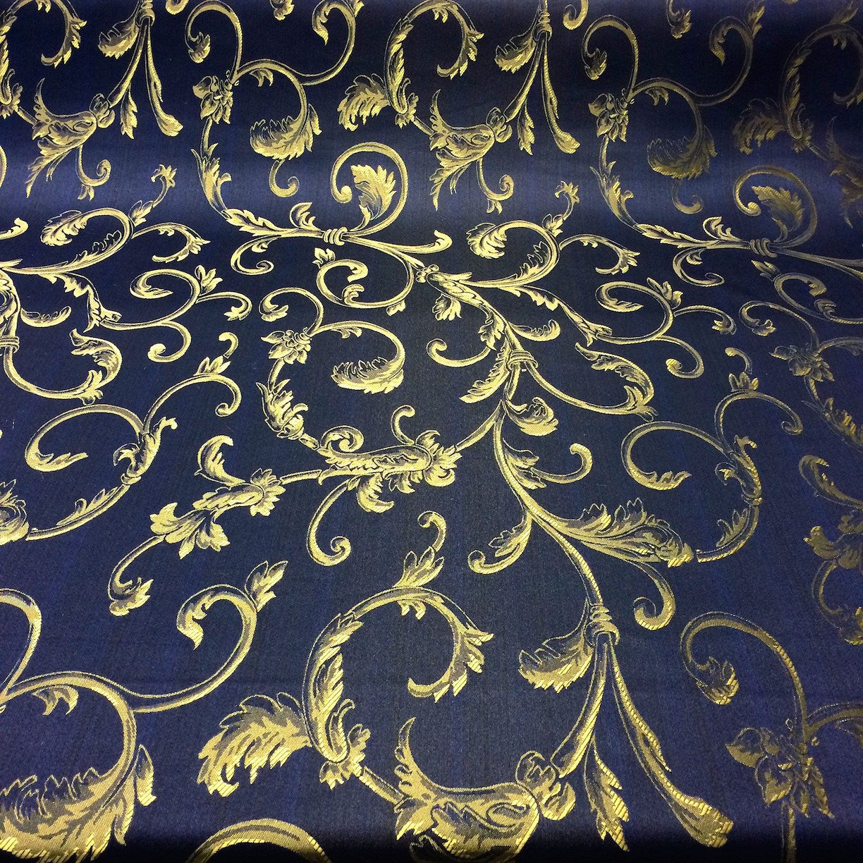 Navy Blue Amp Gold Jacquard Damask Print Fabric 120 Quot Wide