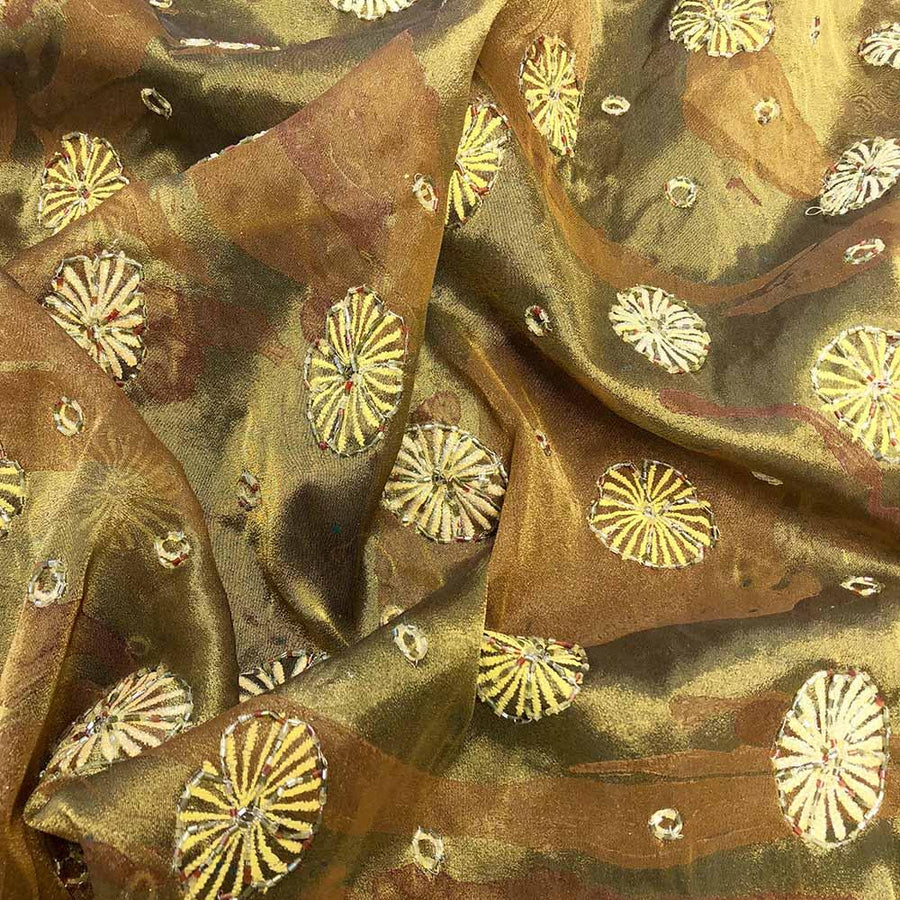 Brown Lotus Beaded Embroidery on Silk Organza Fabric