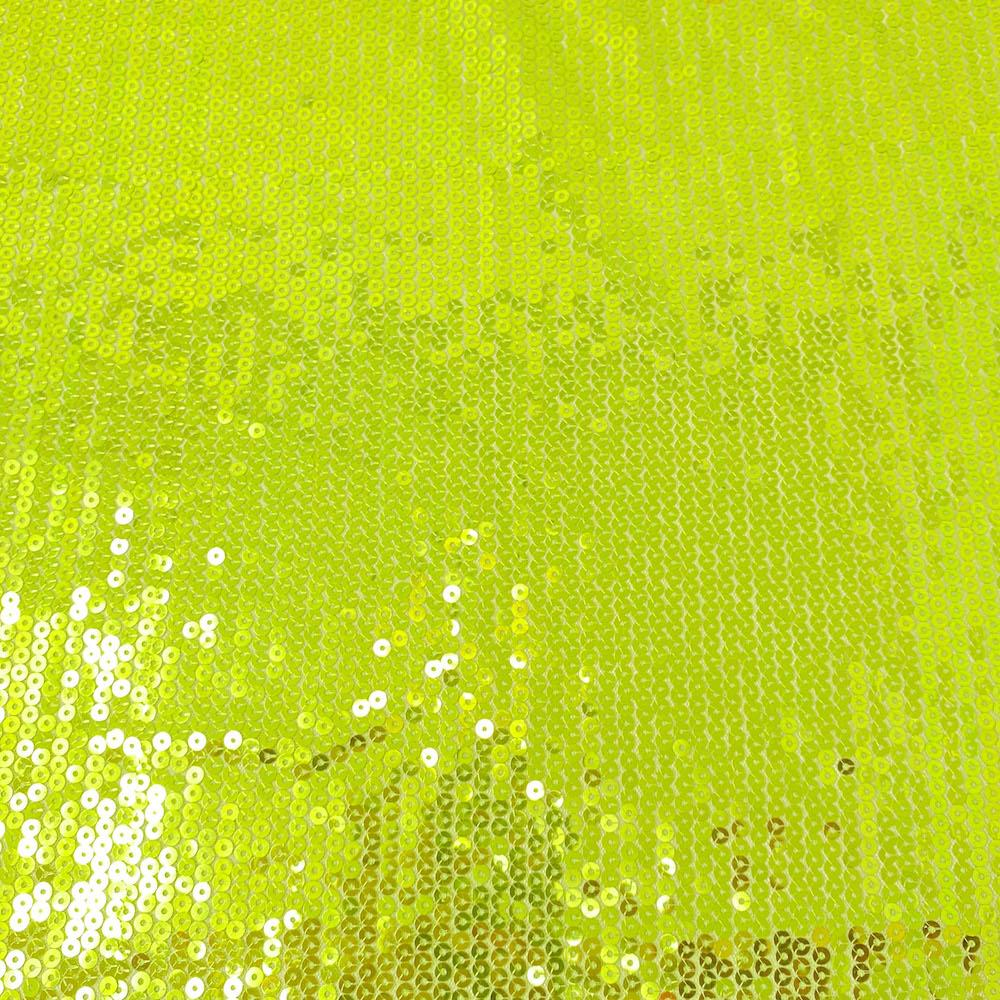 All-Over Lime Green Embroidered Sequins on Mesh
