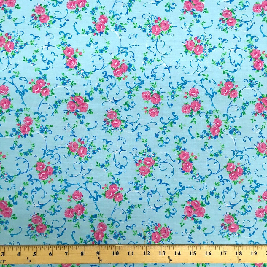 Amanda Blue Print Broadcloth Fabric