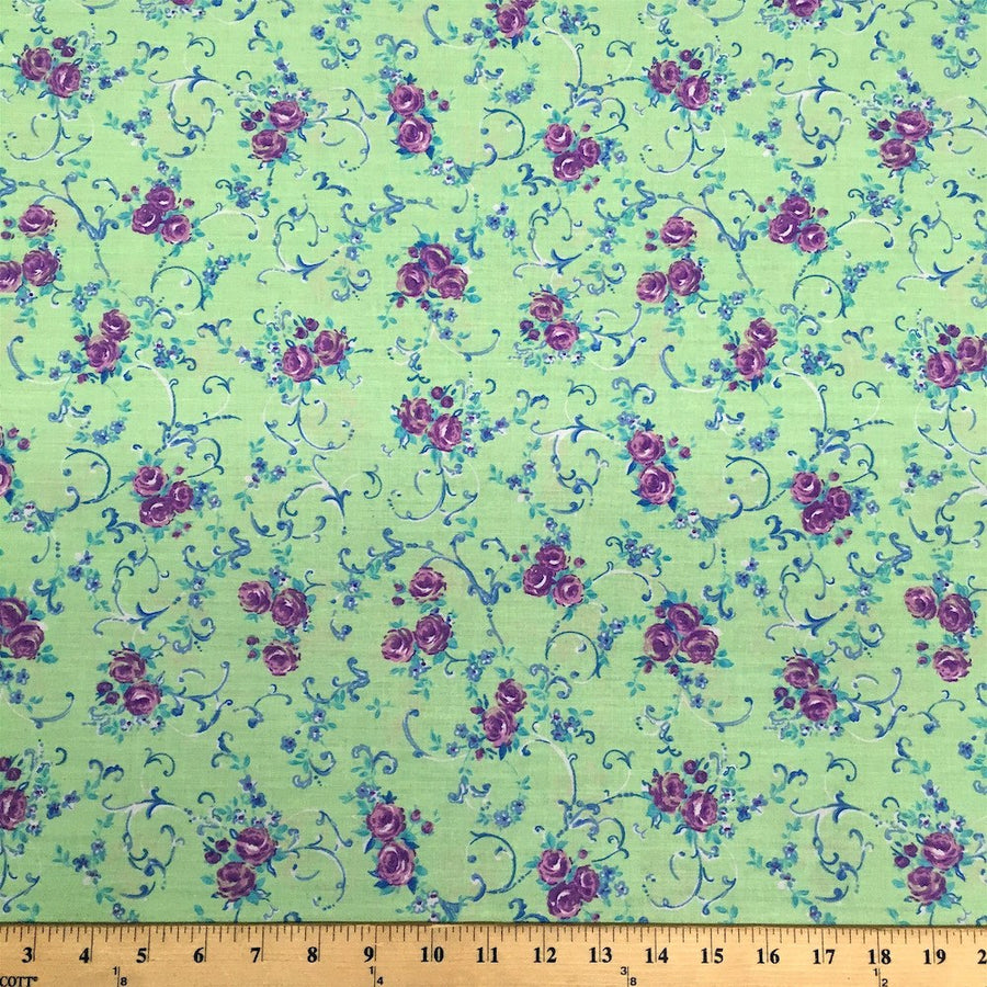 Amanda Green Print Broadcloth Fabric