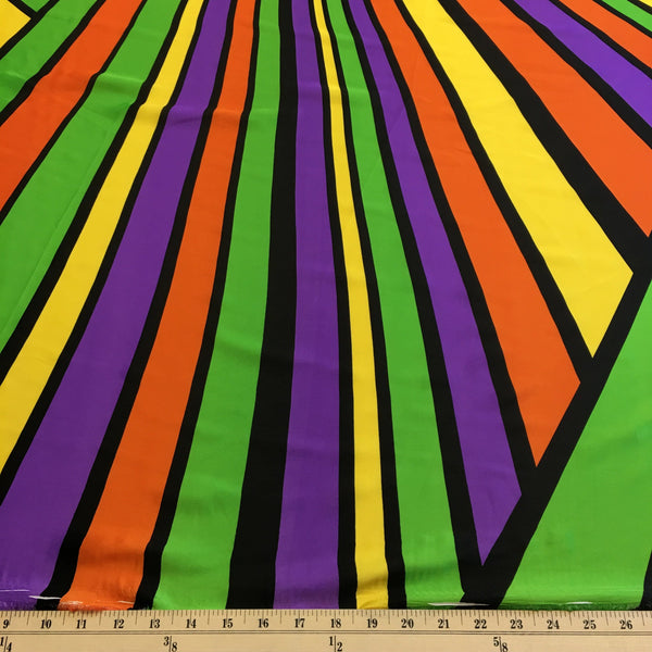 Angelica Rainbow Stripe Printed Charmeuse Fabric