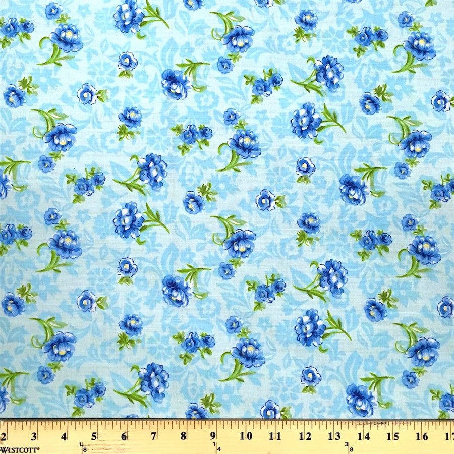 Anna Blue Print Broadcloth Fabric