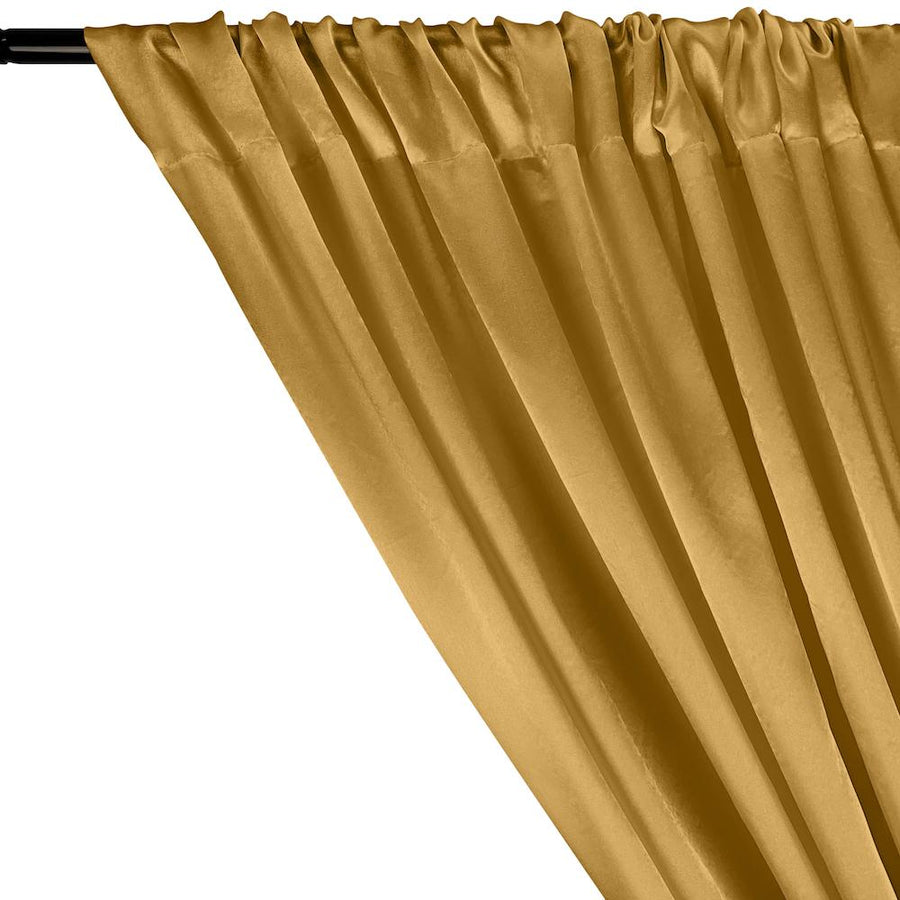Charmeuse Satin Rod Pocket Curtains - Antique Gold