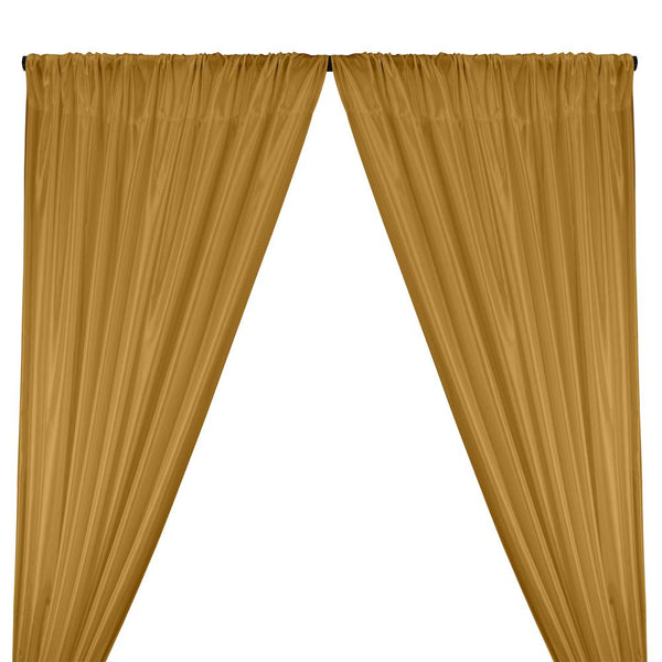 Poly China Silk Lining Rod Pocket Curtains - Antique Gold