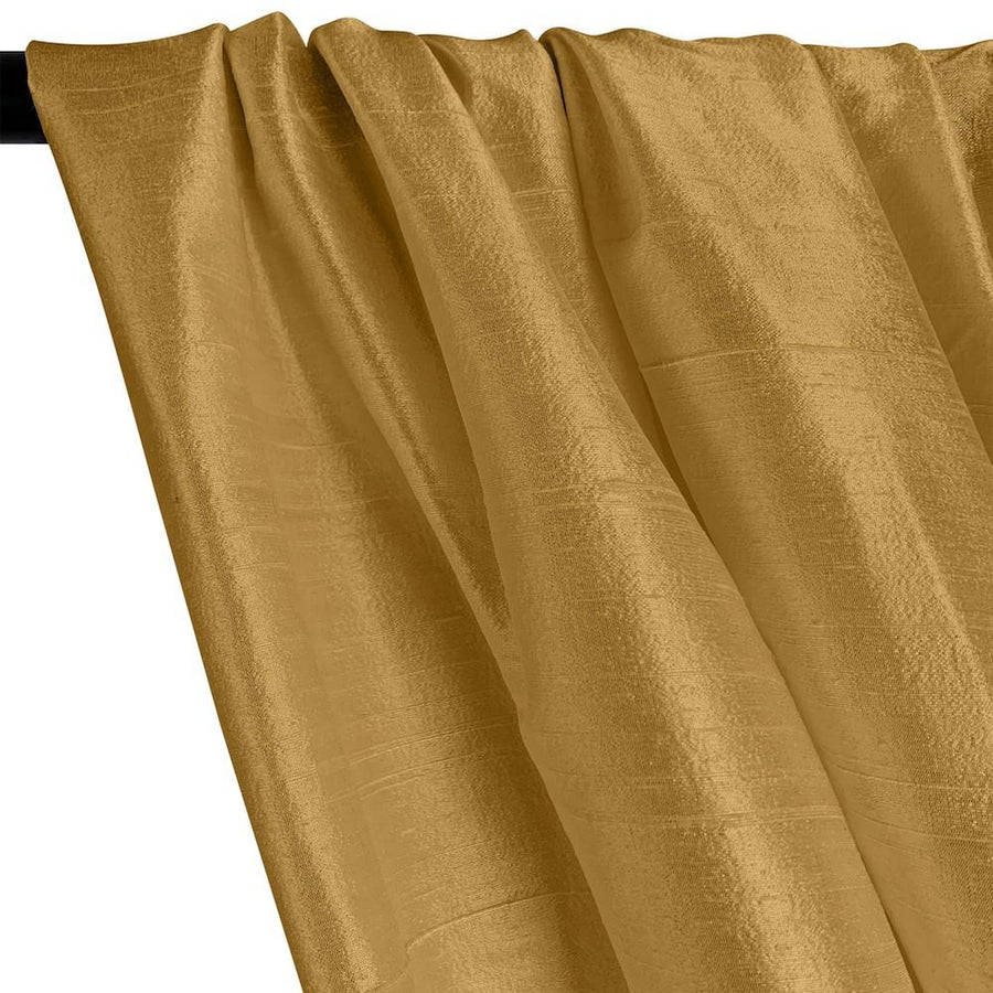 "Silk Dupioni (54"") Rod Pocket Curtains -  Antique Gold"
