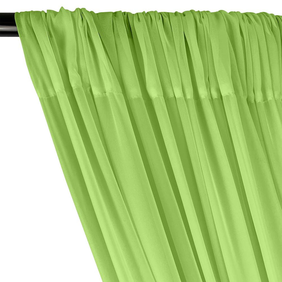 Polyester Chiffon Rod Pocket Curtains - Apple Green