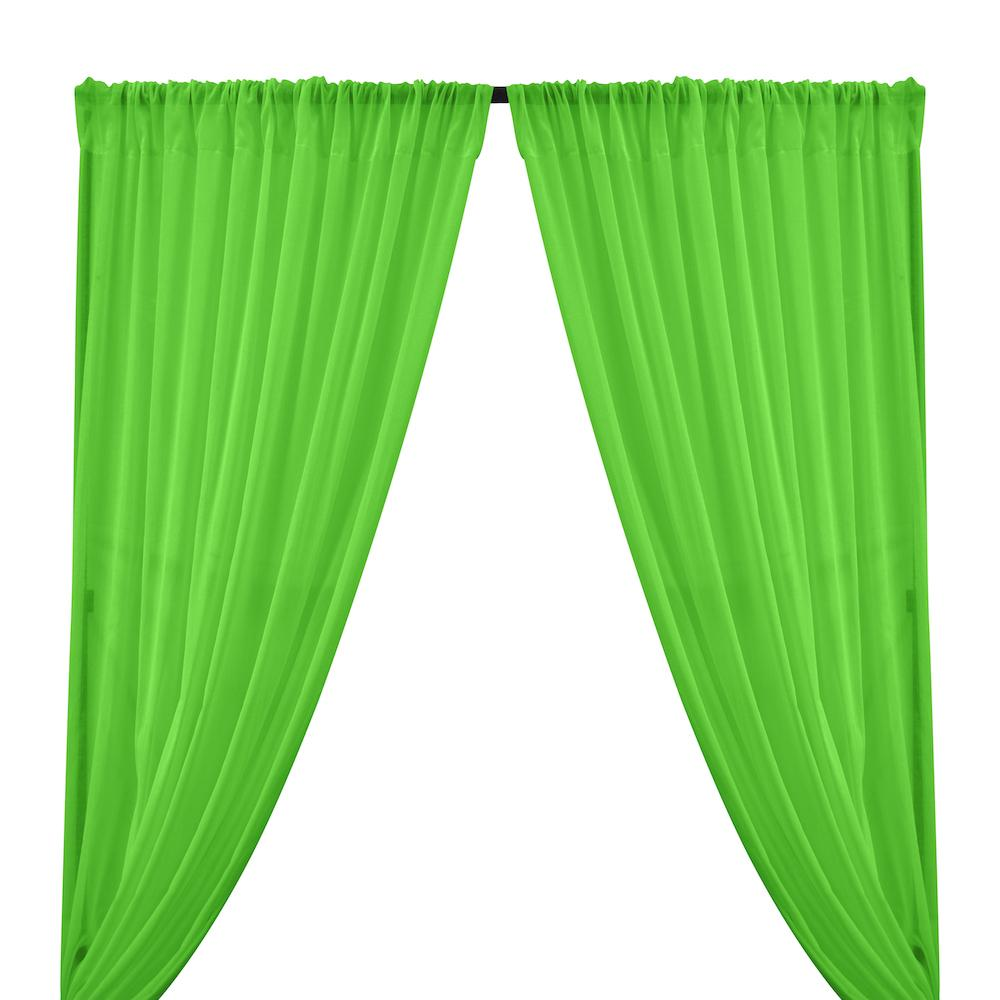 Cotton Voile Rod Pocket Curtains - Apple Green