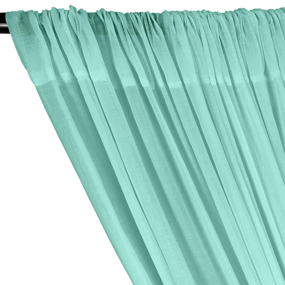 Cotton Voile Rod Pocket Curtains - Aqua Blue