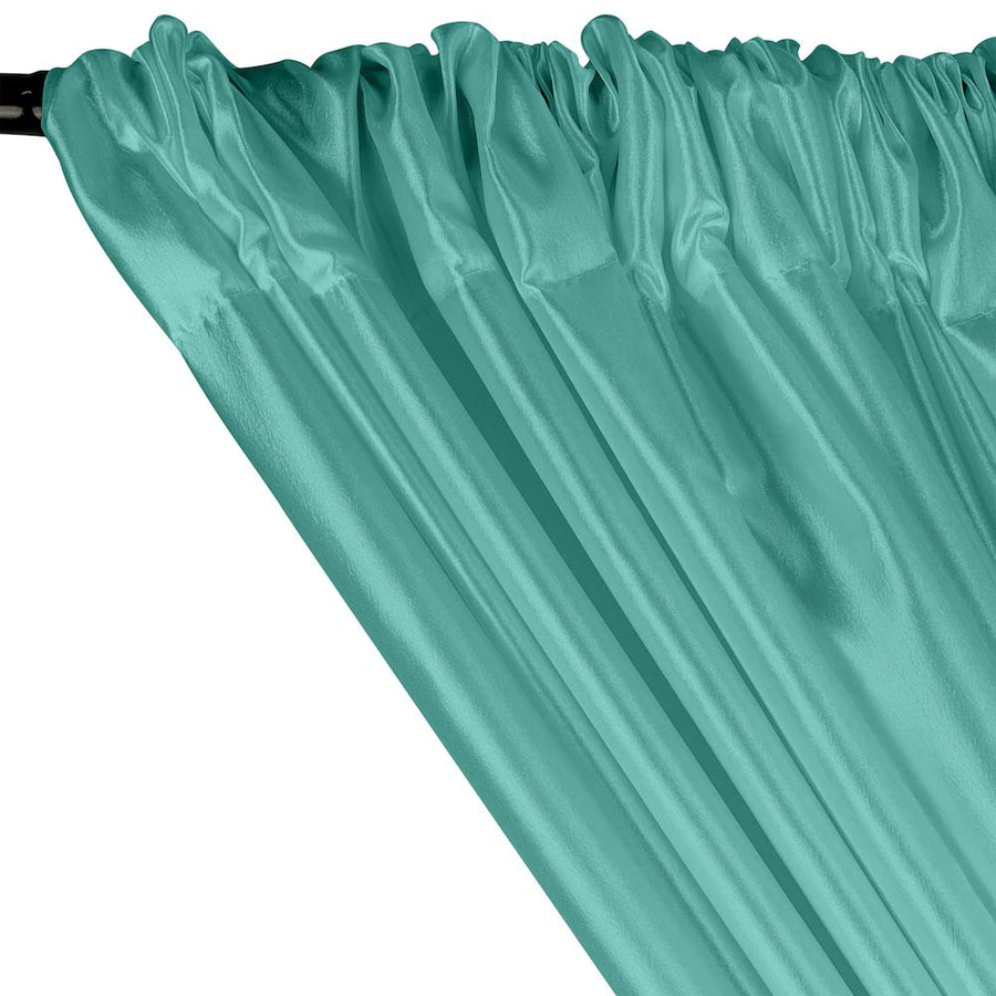 Extra Wide Nylon Taffeta Rod Pocket Curtains - Aqua Blue