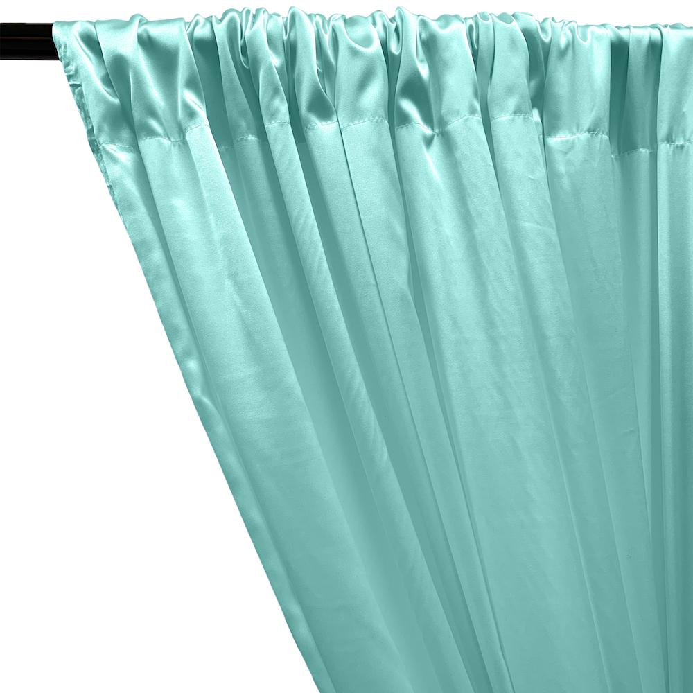 Stretch Charmeuse Satin Rod Pocket Curtains - Aqua Blue