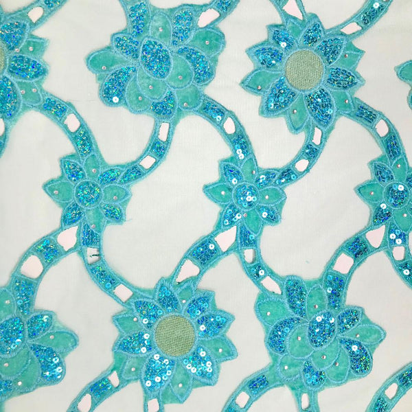 Aqua Blue Sunflower Corded Sequins Lace on Mesh