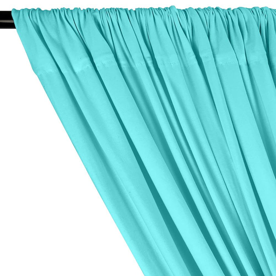 Cotton Jersey Rod Pocket Curtains - Aqua