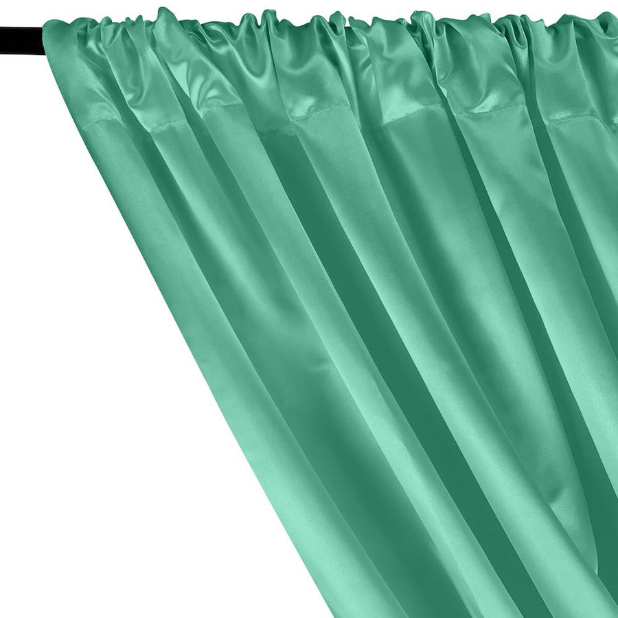 Bridal Satin Rod Pocket Curtains - Aqua Green