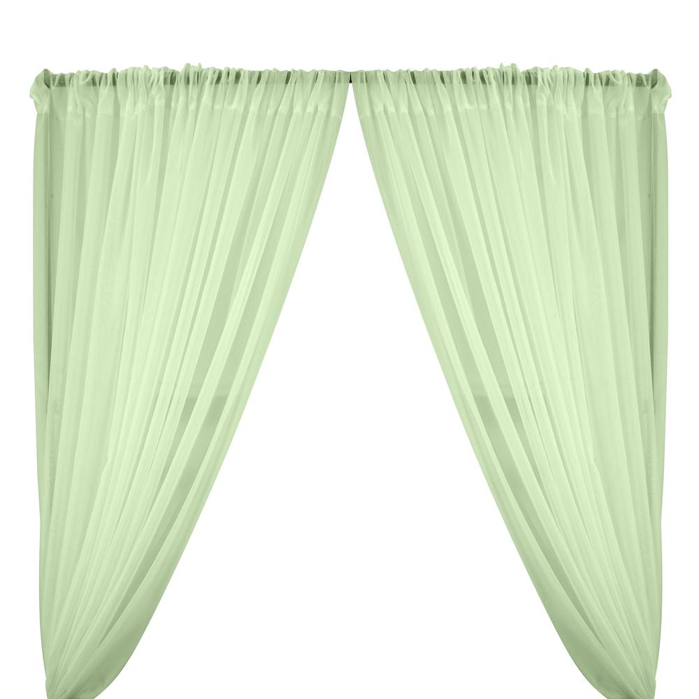 Sheer Voile Rod Pocket Curtains - Aqua Green