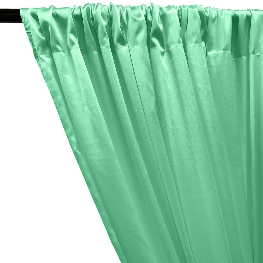 Stretch Charmeuse Satin Rod Pocket Curtains - Aqua Green