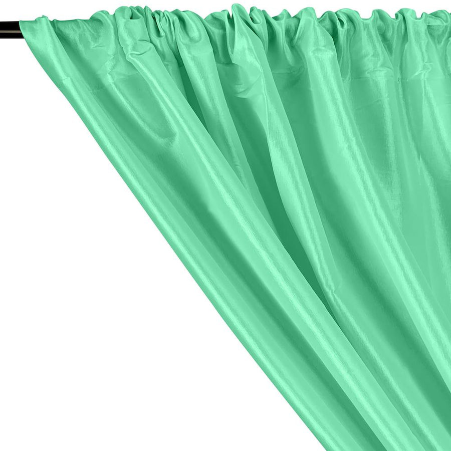 Stretch Taffeta Rod Pocket Curtains - Aqua Green
