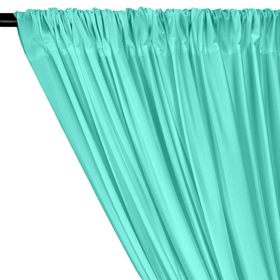 Shiny Milliskin Rod Pocket Curtains - Aqua